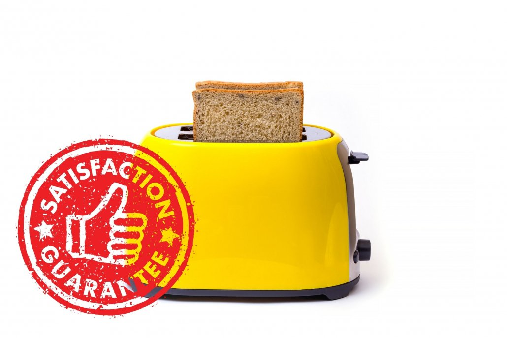 Toaster with guarantee stamp