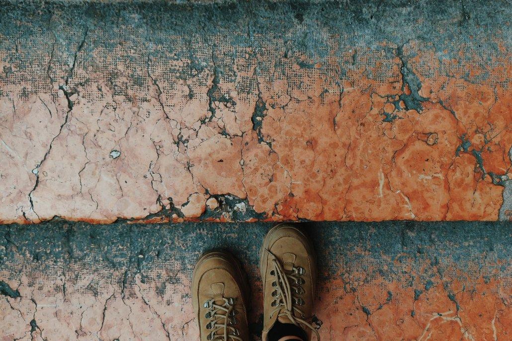 Feet stood on step