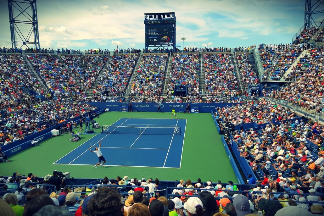 Large audience for a tennis match