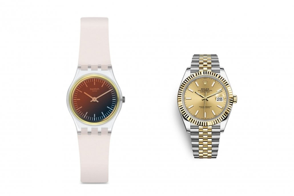 Swatch and Rolex watch